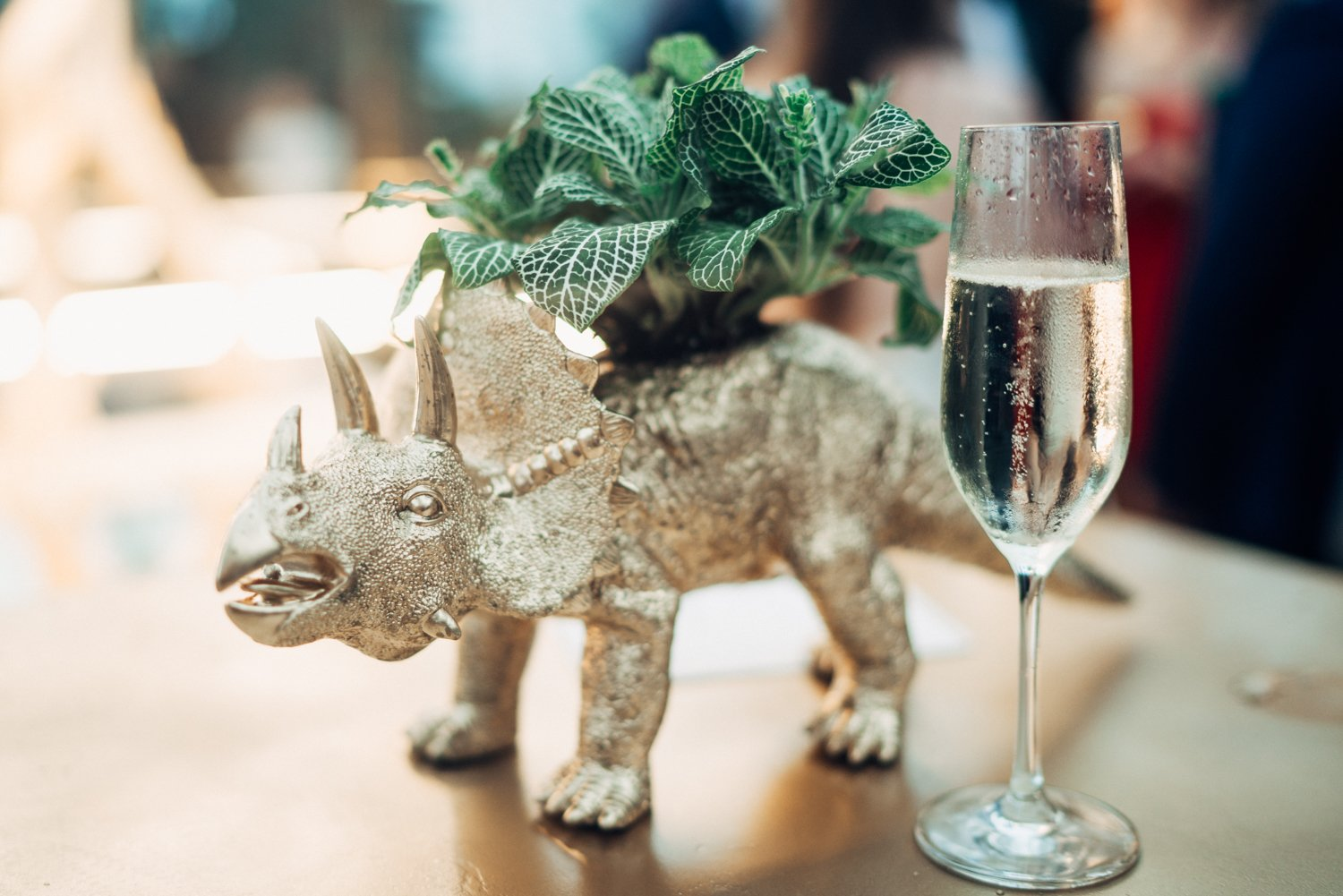 Gold stegosaurus cocktail hour at faena miami beach, fl