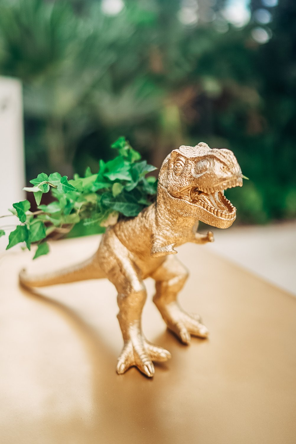 gold t-rex plant holder cocktail wedding planner faena miami
