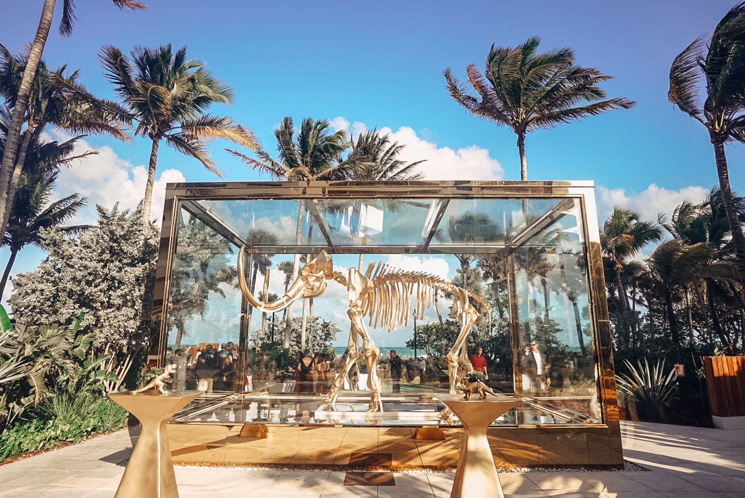 Wedding cocktail hour around mammoth at faena miami beach