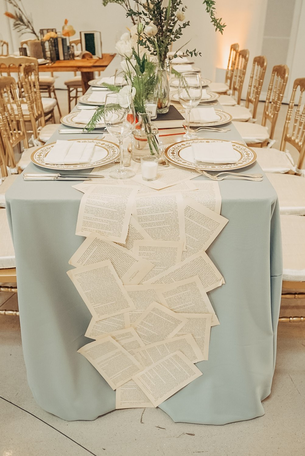 light blue and gold wedding table decor in faena forum miami beach florida