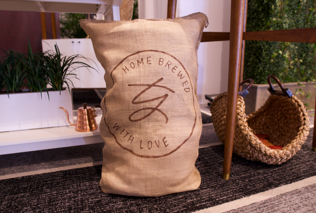Custom branded coffee sack with Trisha Yearwood's logo hand painted on them