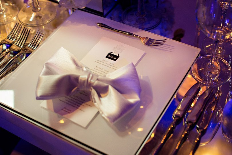 Place setting at Corporate event at Vizcaya in Miami Florida
