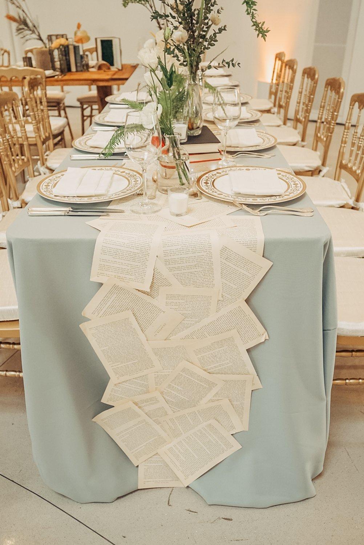 light blue and gold wedding table decor in faena forum miami beach florida