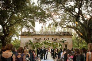 Wedding ceremony at vizcaya gardens in miami