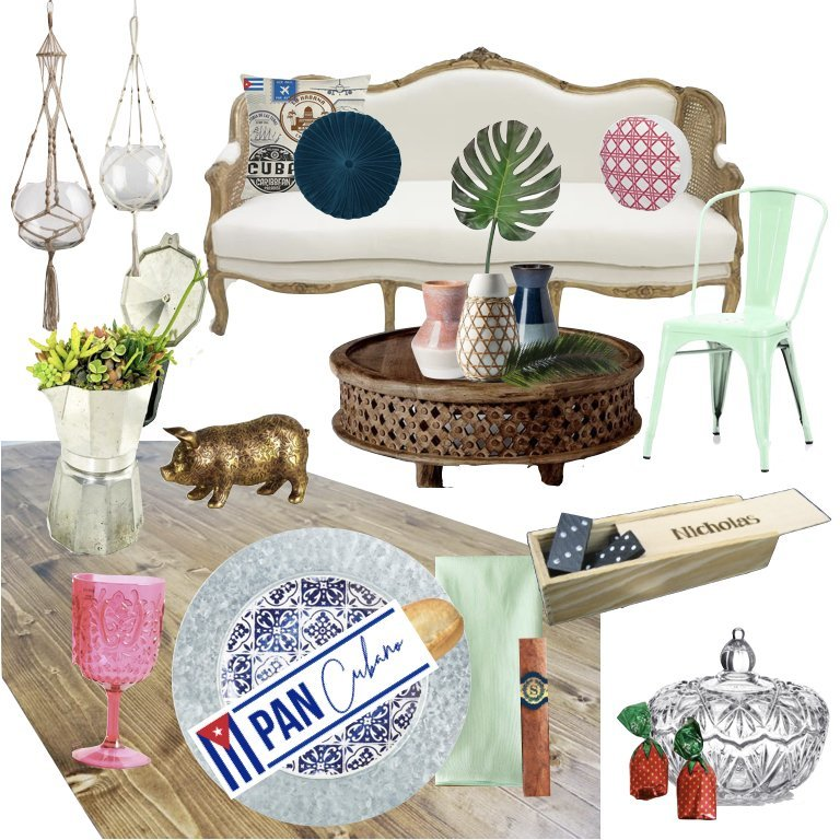 Full moodboard of a Cuban inspired party. Includes elements such as cane vases, dominos, cuban espresso maker with succulents, cigar with custom cigar band, strawberry hard candy, and more